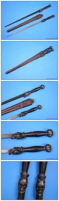 Chinese maces, 19 century, brass with rectangular cross section. The grips are shaped from thick horn disks with a brass cross-guard in the form of a monster head and with a ribbed ball shaped pommel. Both maces are fitted into a leather scabbard.