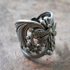 Filigree Ring, Silver Filigree, Antique Silver, Silver Plate, Metal Jewelry, Unique Jewelry, Jewlery, Weedy Sea Dragon, Dragonfly Stained Glass