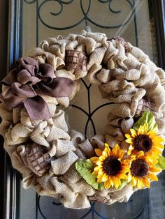 Check out this item in my Etsy shop https://www.etsy.com/listing/539051220/sunflower-wreath-with-bow