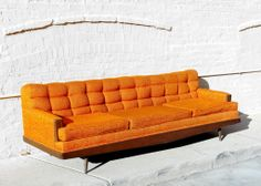 Mid-Century Howard-Parlor Sofa from Apartment 528 #vintage #vintagesofa #vintagecouch #orangecouch #orangesofa