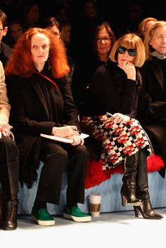 Anna Wintour Photos - Grace Coddington (L) and editor-in-chief of American Vogue attend the Carolina Herrera fashion show during Mercedes-Benz Fashion Week Fall 2015 at The Theatre at Lincoln Center on February 16, 2015 in New York City. - Carolina Herrera - Front Row - Mercedes-Benz Fashion Week Fall 2015