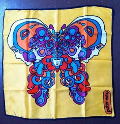 Gypsy Living Traveling In Style| Serafini  Peter Max vintage scarf | Vintage 1960s Peter Max Butterfly Op Art Scarf by lodekka on Etsy