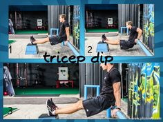 Bench/Bar Dips Slowly lower your body as you inhale by bending at the elbows until you lower yourself 90 degrees between the upper arm and the forearm. Tip: Keep the elbows as close as possible throughout the movement & forearms be pointing down. Using your triceps to bring your torso up again, lift yourself back to the starting position. Repeat for the recommended amount of repetitions. Place your legs on top of another flat bench or box to make the exercise more challenging.