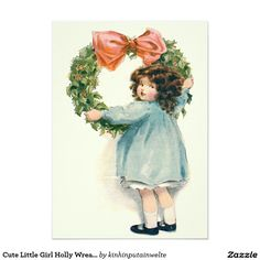 Cute Little Girl Holly Wreath Pink Bow 5x7 Paper Invitation Card