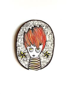 Little redhead  waiting for you  to fix her  on your wall.  $40. Exclusive 10% off coupon code PIN10 moonandlion proudly presents her new series - wall medallions.  Self-hanging,