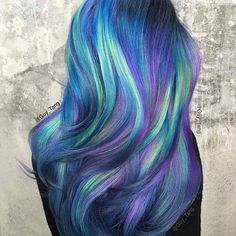 blue purple green hair