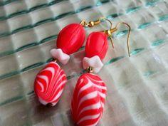 Chunky Orange Bead Earrings White Earrings Retro by mscenna, $8.00