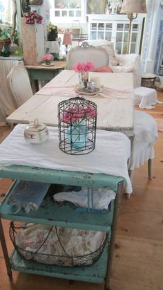 Vintage ornate bird cage shabby chic