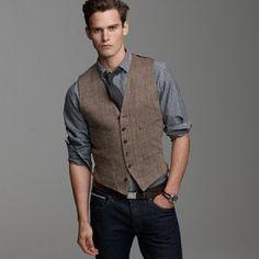 Linen herringbone vest - another way to style it.