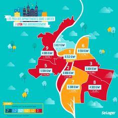 Lyon, Le Prix, Arrondissement, France, Map, Comme, Real Estate, Infographic, Home