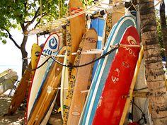 Surfboards on O'ahu, Hawaii islands.