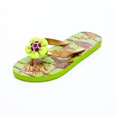 05680900426e5 Miss Trish Bling Rose Palm Green Flip Flops