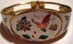 Butterfly Floral Enamel Cloisonne Hinged Clamped Vintage Bracelet | sagerosesattic - Jewelry on ArtFire...40% OFF W/ FREE U.S.SHIPPING! ...INTERNATIONAL CUSTOMERS WELCOMED!