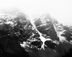 "Mountain Photography, Canada Art, Black and White Photography, Large Wall Art, Moraine Lake, Banff, Black and White Art ""Alpine Fog"" by EyePoetryPhotography on Etsy https://www.etsy.com/listing/253193036/mountain-photography-canada-art-black"