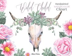 Watercolor Floral Bull Skull Wild Child Tribal Boho by Whizzprints