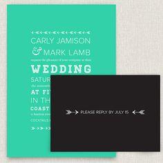 Darted - modern wedding invitation with typographic arrow design. $4.00, via Etsy.