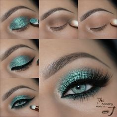 "Get the Look with Motives®: ""Grass Ain't Greener"" Makeup Tutorial Green Eyeshadow makeup tutorial - Das schönste Make-up Eye Makeup Steps, Smokey Eye Makeup, Makeup Tips, Beauty Makeup, Makeup Ideas, Hair Makeup, Green Eyeshadow, Eyeshadow Looks, Eyeshadow Makeup Tutorial"