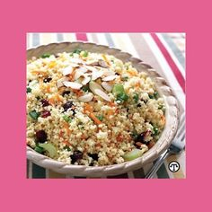 Easy summer salads recipes for a crowd: Cranberry couscous salad with almonds  healthy summer salads, couscous recipes, cold salad recipes for summer