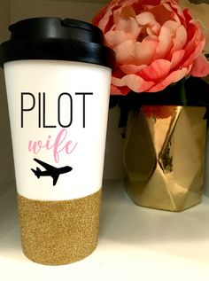 Pilot wife Glitter travel mug - 16 oz - pilot wife gift - woman pilot gift by Glittermug on Etsy https://www.etsy.com/listing/260324431/glitter-travel-mug-16-oz-pilot-wife-gift