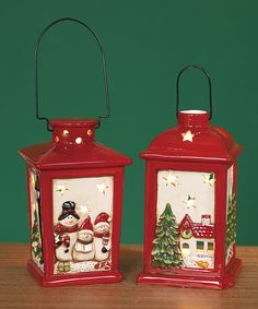 Another great find on #zulily! Red Christmas Lantern Set #zulilyfinds