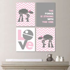 Star Wars Girl Quad - Baby. Decor. Nursery. Girl - You Pick the Size (NS-125) on Etsy, $35.00