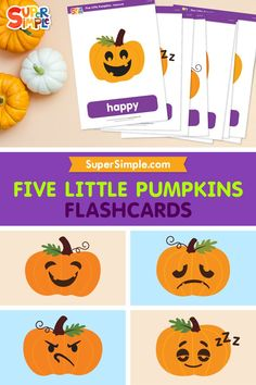 """Practice emotions vocabulary and counting with the """"Five Little Pumpkins."""" Great for Halloween or anytime of year. Contains 10 Cards: smiling, happy, pouting, grumpy, yawning, sleepy, crying, sad, laughing, playing"""