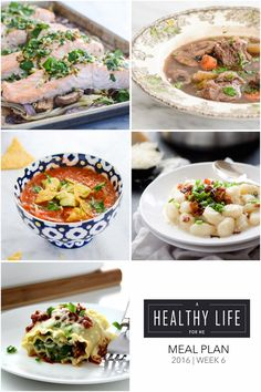 Weekly Meal Plan Week 6  A healthy family friendly menu plan for five weeknight meals, and dessert idea.  Each featured recipe includes link to complete recipe - A Healthy Life For Me