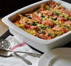 Tomato, Broccoli & Mozzarella Pasta Casserole. Very good, but a little dry. More oil? Throw in some marinara sauce? Play around with it.