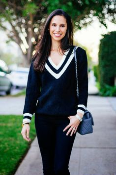 Cass of @baskinstyle in black V neckline sweater. Shop this beauty here. | Lookbook Store OOTD #LBSDaily
