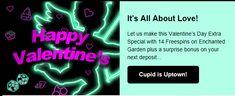 Happy Valentine's Day - 14 Free Spins + Match Bonus At Uptown Aces Casino (RTG)