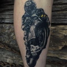Motorcycle tattoo by Marius P! Limited availability at Revival Tattoo Studio.
