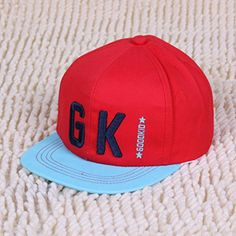 4d2ac91df0f18 Ruxi Spring Summer Embroidery GK Hip hop Baseball Flat Caps for Kids (red).  Flat CapBaby ...