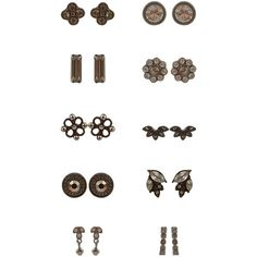 Accessorize 20 X Deco Stud Earring Set ($23) ❤ liked on Polyvore featuring jewelry, earrings, 1920s earrings, leaves earrings, leaves jewelry, 1920s jewelry and deco jewelry