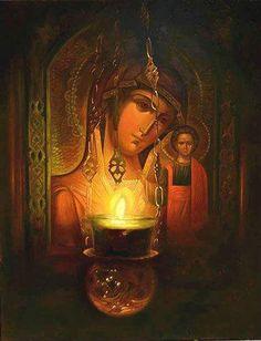 """""""Οι χριστιανοί είμαστε πράγματι πολύ τυχεροί, που έχουμε την Υπεραγία Θεοτόκο να πρεσβεύει για μας ενώπιον του θρόνου του Θεού."""" ~ Γέροντας Θαδδαίος της Βιτόβνιτσα Mother Of Christ, Blessed Mother Mary, Religious Icons, Religious Art, Virgin Mary Statue, Roman Art, Catholic Art, Orthodox Icons, Russian Art"""