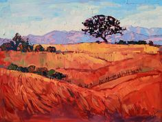 Paso Robles in summer, original oil painting by California artist Erin Hnason