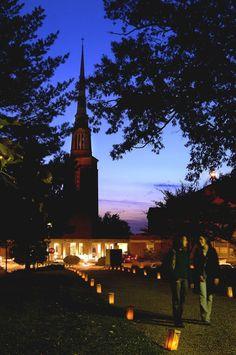 Campus Illumination on Friday night lights up the Anderson University campus.