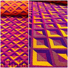 Brightly coloured Italian pure silk fabric in an eye-catching geometric pattern. See more: http://www.ditalia.com.au/blogs/article/italian-pure-silk-woven-summer-fabric #fashion #dressmaking #fashiondesign #sewing #textiles