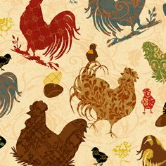 I had to get this crazy chicken fabric. Farm Animal Crafts, Farm Animals, Farmhouse Fabric, Wilmington Prints, Lovely Creatures, Work Inspiration, Hens, Surface Design, Sketches