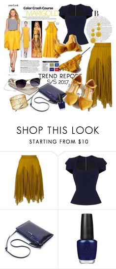 """Marigold With Navy Blue"" by clotheshawg ❤ liked on Polyvore featuring Chloé, Roland Mouret, OPI and Kenneth Jay Lane"