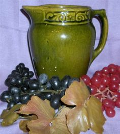 Beautiful Vintage Winter Green Pottery Picture