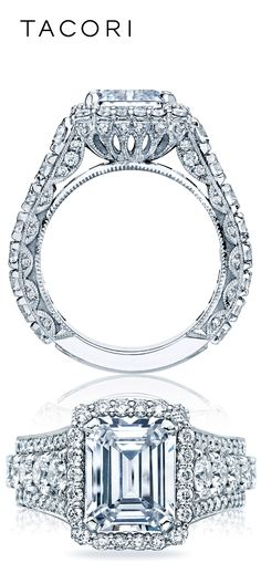Diamond Rings : Hailing from the RoyalT Fancies collection, this stunning emerald cut Tacori eng. - Buy Me Diamond Diamond Rings, Diamond Jewelry, Jewelry Rings, Fine Jewelry, Wire Rings, Jewlery, Tacori Engagement Rings, Wedding Engagement, Dream Ring