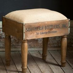 Wooden Bottle Crate Footstool