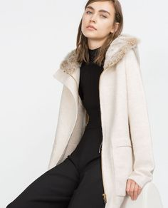 Image 4 of COAT WITH FAUX FUR HOOD from Zara
