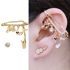 CIShop Unique Design Alloy Zircon Diamond Music Notes Stud Earrings Ear cuff Earring Ear Ring Sweet Ear Wrap Yellow ** For more information, visit image link.(This is an Amazon affiliate link and I receive a commission for the sales)