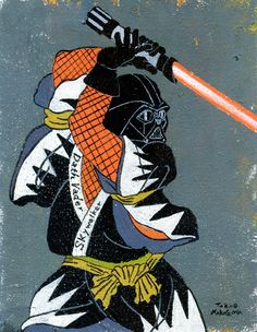 Ukiyoe-fied Star Wars, Super Mario, and anime stars, by Takao Nakagawa