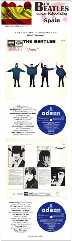 "The Beatles Spain LP Odeon MOCL 136 HELP! ""¡Socorro!"" Vinyl Record Long Play Discography"