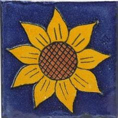 Sunflower 1 - Handcrafted Mexican Talavera Flower Tile