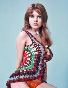70's crochet outfit on Madeline Smith