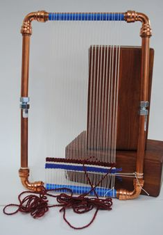 Copper pipe loom with push-on corners. FAIL. Rebecca Mezoff's first attempt at copper pipe loom-making.