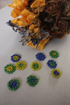 10 Beaded Flowers Table Confetti; Yellow, Cobalt Blue, Emerald Green; Table Decor; Table Scatter; Wedding Confetti; Party Confetti